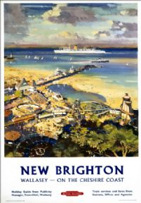 New Brighton, Wallasey, Merseyside, Cheshire Coast. BR (LMR) Vintage Travel Poster by L A Wilcox